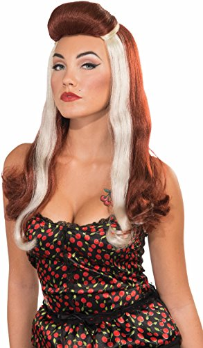1950 Wigs (Womens Red White 1950s Retro Rockabilly Rock Star Dixie Costume Accessory Wig)