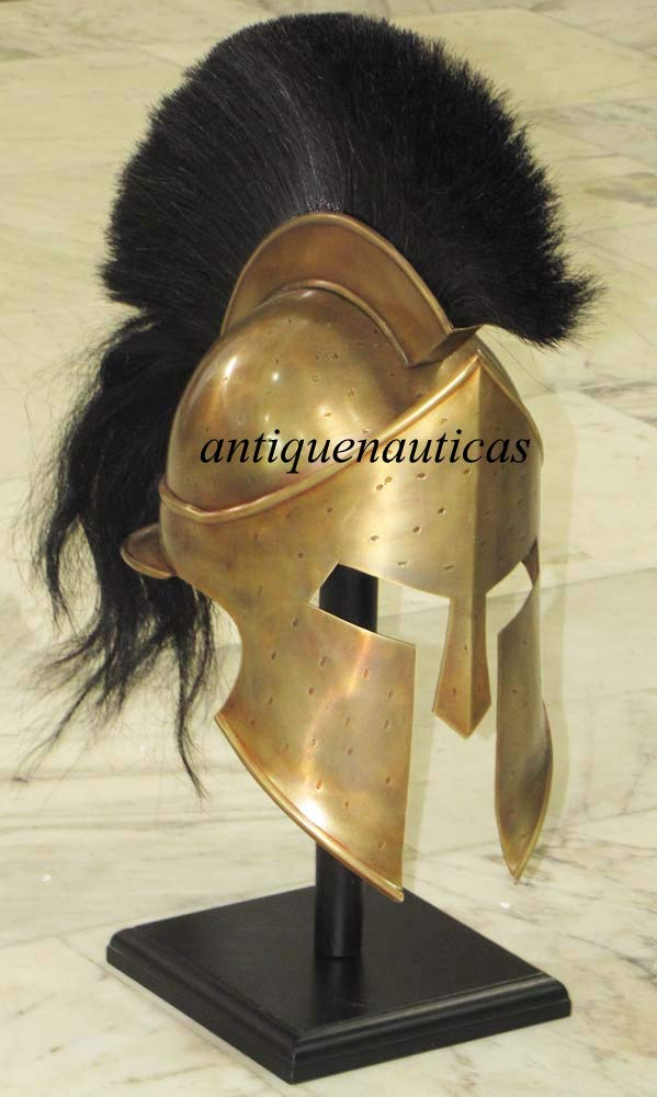 Reducción de precio Casco de espartan Medieval Griego Shivi Shakti Enterprises Armor de colección con Plumas Negras