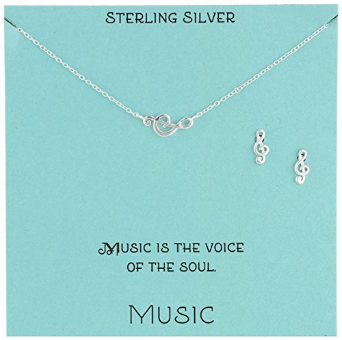 Sterling Silver Treble Clef Necklace and Earrings Jewelry Set, 18
