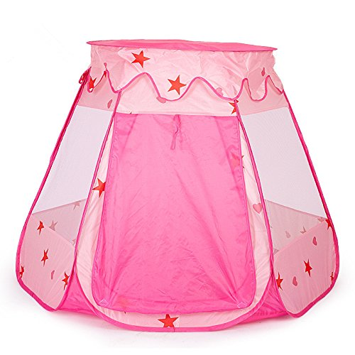 Pink Kid's Play Tent,Veogo Princess Indoor and Outdoor Playhouse,Pop up Play Toys Tent with Carry bag for Children Kid Toddlers,Infants (Pink)
