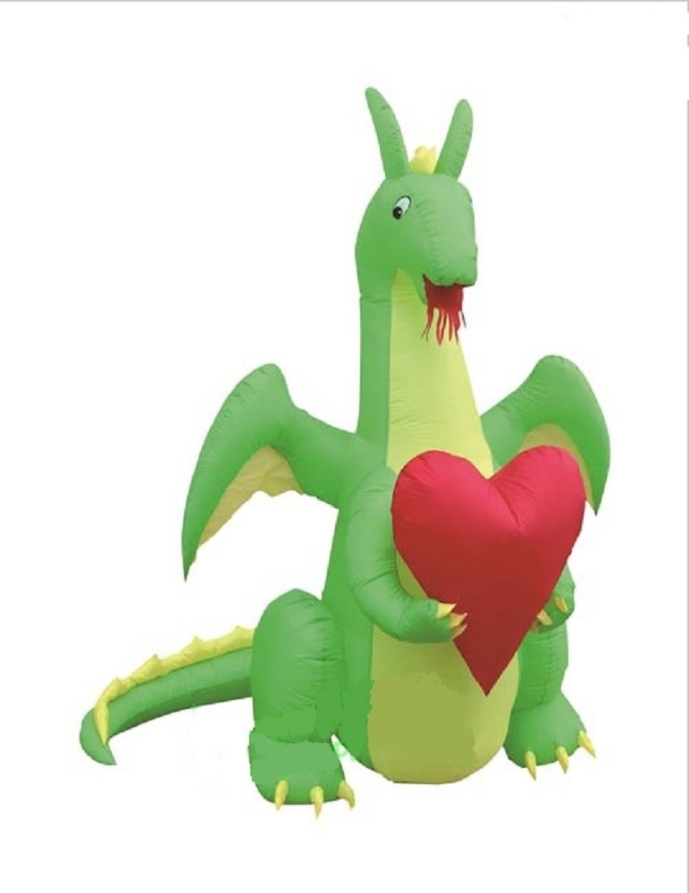 Valentines Day Inflatable Dragon In Love Holding Heart Airblown Love & Romance Decoration