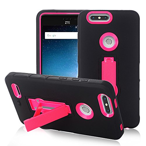 Z-ridge Natural (ZTE Blade ZMax pro 2 Case, ZTE Z982 Case, Heavy Duty Rugged Hard Cover with Hybrid Dual Layer Shock-Absorption Protection with Kickstand Case For ZTE ZMax pro 2 (Black+Pink))