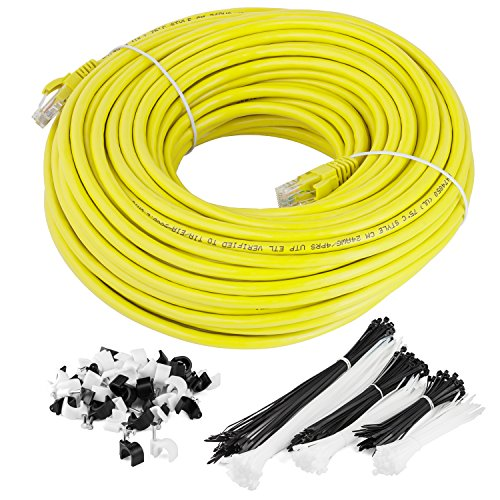 Maximm Cat6 Snagless Ethernet Cable - 100 Feet - Yellow - Pure Copper - UL Listed - Cable Ties Included by Maximm