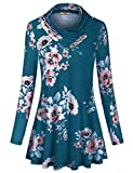 Miusey Plus Clothing for Women,Fashion 2019 Loose Fit Juniors Simply Peach Colored Tunic Shirts Swing Draped Hem Crew Neck Loose Comfy Curvy Blouses Relaxed Top Dresses Blue XXL