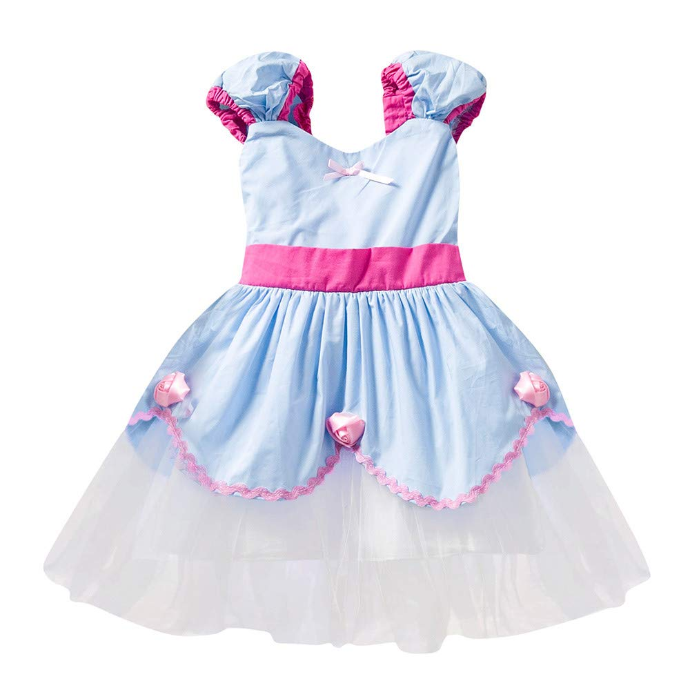 Little Girl Christmas Princess Dress,Jchen(TM) Clearance Kids Baby Girl Party Vintage Princess Tulle Tutu Dress Cosplay Costume Princess Party Casual Dress for 0-5 Y (Age: 0-1 Years Old, Blue)