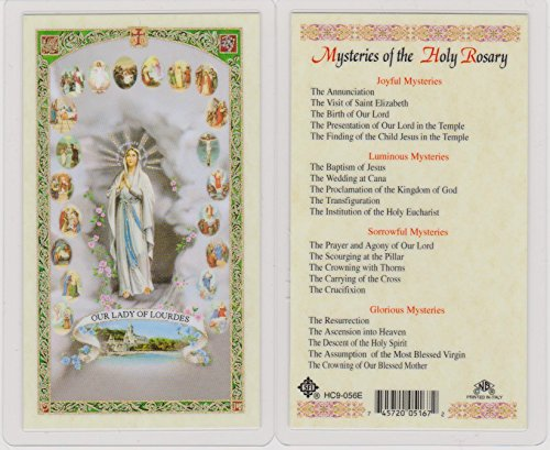Amazon. Com: mysteries of the rosary holy prayer card with cross.