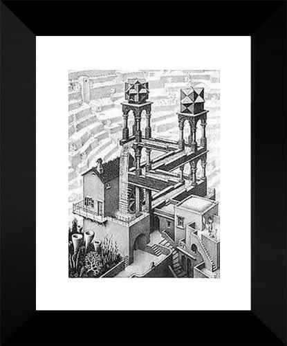 Waterfall 15x18 Framed Art Print by M.C. Escher