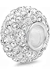 .925 Sterling Silver White Crystal Bead Charm