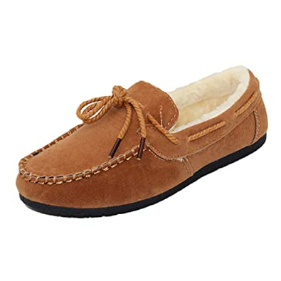 Daytwork Zapatos para Mujer Mocasines - Pisos Forrado de Piel Mocasín Gamuza Cálido Casual Conducir Confort Guisantes Gommino Cordones Cortos Moda Botas ...