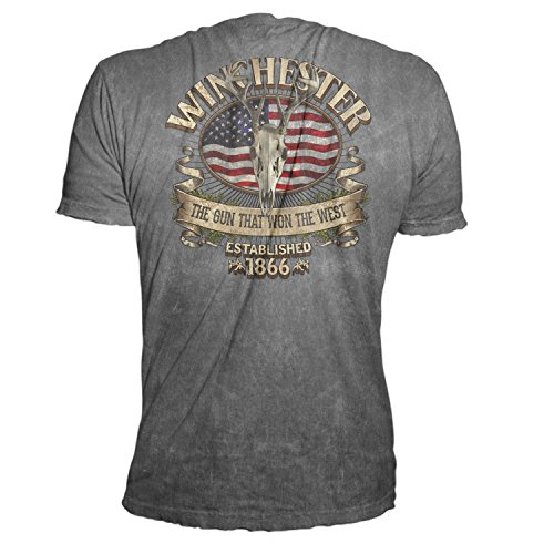 Winchester Official Men's Limited Edition Southern Rebel Skull Graphic Short Sleeve T-Shirt (Medium, Charcoal Mineral Wash)