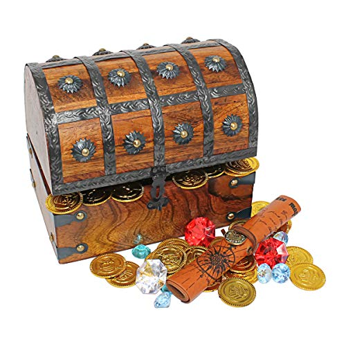 Nautical Cove Wooden Pirates Treasure Chest Box with a Free Pirate Treasure Map and Gold Coins/Gems (Large 8