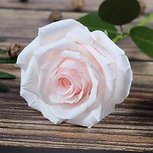 Blush Pink Paper Rose Handmade Art Crepe Paper Flowers for Home decorations Wedding bridesmaids bouquets, Single Long Stem 1