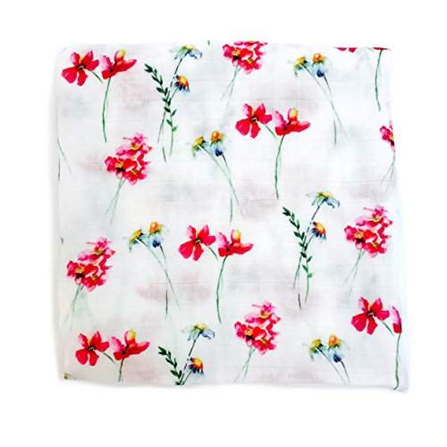 Little Luvies Digitally Printed Luxury Swaddle Blanket (In a Field of Roses, She is a Wildflower)| Wildflower Floral Baby Muslin Swaddle Wrap and Receiving Blanket | Soft Bamboo Baby Swaddle Girl (Bamboo Rose)