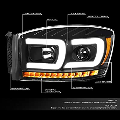 DNA Motoring HL-HPL-RM06-G2-BK-AM Pair LED DRL+Sequential Chasing Turn Signal Projector Headlight: Automotive