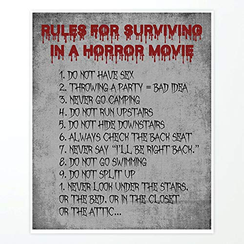Silly Goose Gifts Scary Halloween Horror Movie Survival Guide Wall Art Prints 11x14in Decoration -