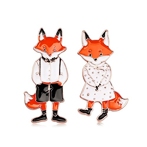 Fox Gold Brooch - SENFAI Cartoon Cute Cats Rabbits Foxes Metal Brooch and Pin Two Piece one Gift Box (fox rose gold)