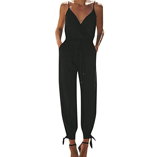 510218307956 Sunyastor Women s Solid Color Casual Sleeveless V-Neck Strap Jumpsuit Party  Clubwear Bandage Romper Jumpsuit