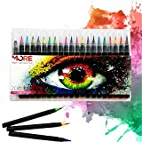 Watercolor Brush Pens- 20 Colors Soft Flexible Tip Includes Free Refillable Blending Water Pen, Vibrant Colors - Art Pens for Professional Adults & Children - Washable Marker - Durable - Portable