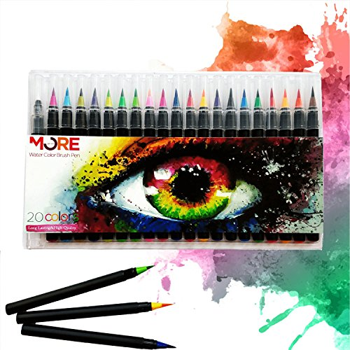 Watercolor Brush Pens- 20 Colors Soft Flexible Tip Includes Free Refillable Blending Water Pen, Vibrant Colors - Art Pens for Professional Adults & Children - Washable Marker - Durable - Portable by Get and More