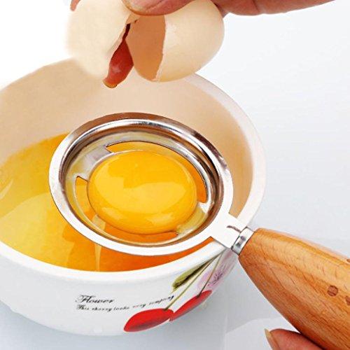 YJYDADA Wooden Handle With Smile Face Egg Yolk White Separator Divider Kitchen Tool