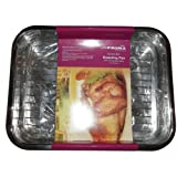 Prima Stainless Steel Oblong Roaster Roasting Baking Sheet Tray Tin & Rack 37 x 28 cm by My Bargains Online Shop