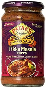 Patak's Tikka Masala Curry Cooking Sauce, Medium, 15-Ounce Glass Jars (Pack of 6)