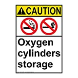 ComplianceSigns Vertical Plastic ANSI CAUTION Oxygen Cylinders Storage Sign, 10 X 7 in. with English Text and Symbol, White
