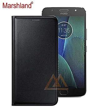 the best attitude 30ded 85e53 Marshland Leather Flip Cover for Moto G5S Plus (Black)