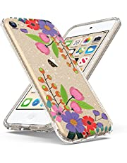 ULAK Compatible with iPod Touch 7 Case / iPod Touch 6 Case, Slim Fit Hybrid Bumper TPU/Scratch Resistant Hard PC Back Cover for iPod Touch 7th/6th/5th Generation, Strawberry Flower