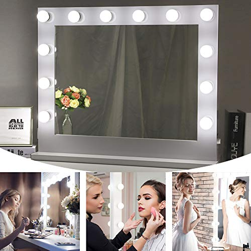 Chende Hollywood Lighted Makeup Vanity Mirror Light, Makeup Dressing Table Vanity Set Mirrors with Dimmer, Tabletop or Wall Mounted Vanity, 14 LED Light Bulbs Included (White)