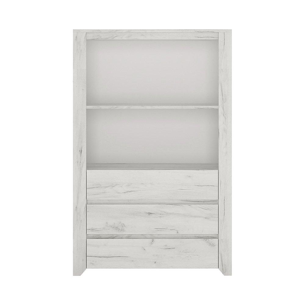 Furniture To Go Angel 3 Drawer Cupboard with Open Shelf, Wood, White Oak, 84x40x130.7 cm Wojcik 4213262