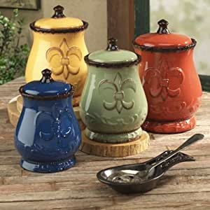 Tuscany Colorful Hand Painted Fleur De Lis Canisters, Set of 4, 82001 by ACK, Garden, Lawn, Maintenance