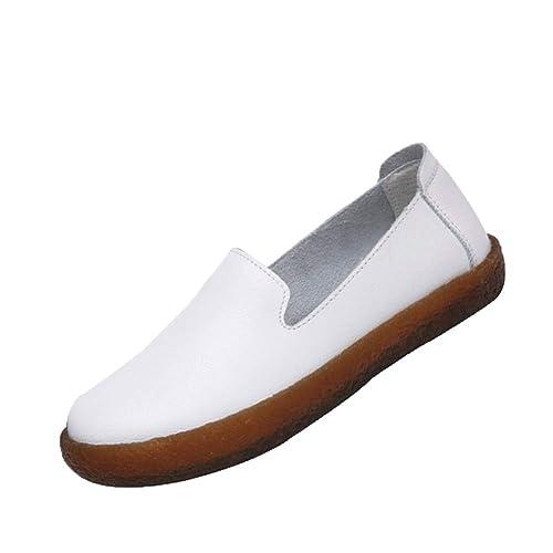 Tenthree Loafers Mocasines Mujer Blanco - Cuero Respirable Plano Comodidad Trabajo Ballet Ocio Zapatillas para Caminar Tobillo Zapatos: Amazon.es: Zapatos y ...
