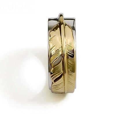 HFJ&YIE&H Anillo de plata 925 para hombre personalizado pluma dorada accesorios de discoteca tailandesa retro plata