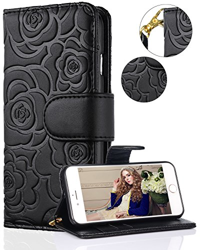 iPhone 8 Case,iPhone 7 Wallet Case,FLYEE Premium Flip Wallet Leather [kickstand] [Emboss Flower] Magnetic Protective Cover with Card Slots and Detachable Wrist Strap for iPhone7 iPhone8 5.5 Inch Black