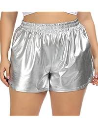 Women Plus Size Hot Yoga Metallic Shorts Elastic Waist Shiny Pants 7baed468b