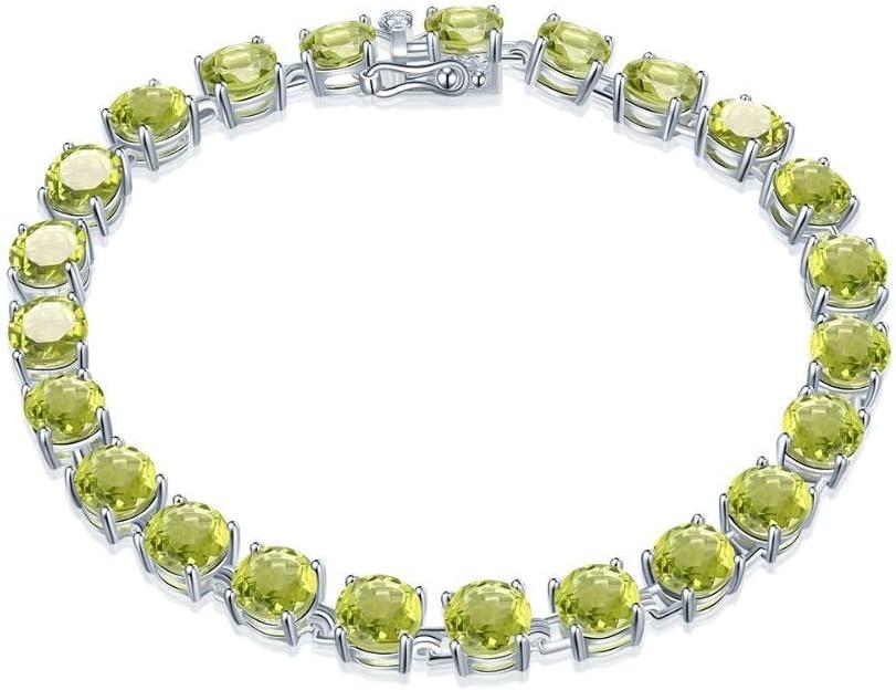 SL 21.41Ct Pulsera de Cadena de Eslabones de Plata de Ley 925 Maciza de Peridoto Natural para Mujer con Piedras Preciosas Redondas de 6 Mm 7.25