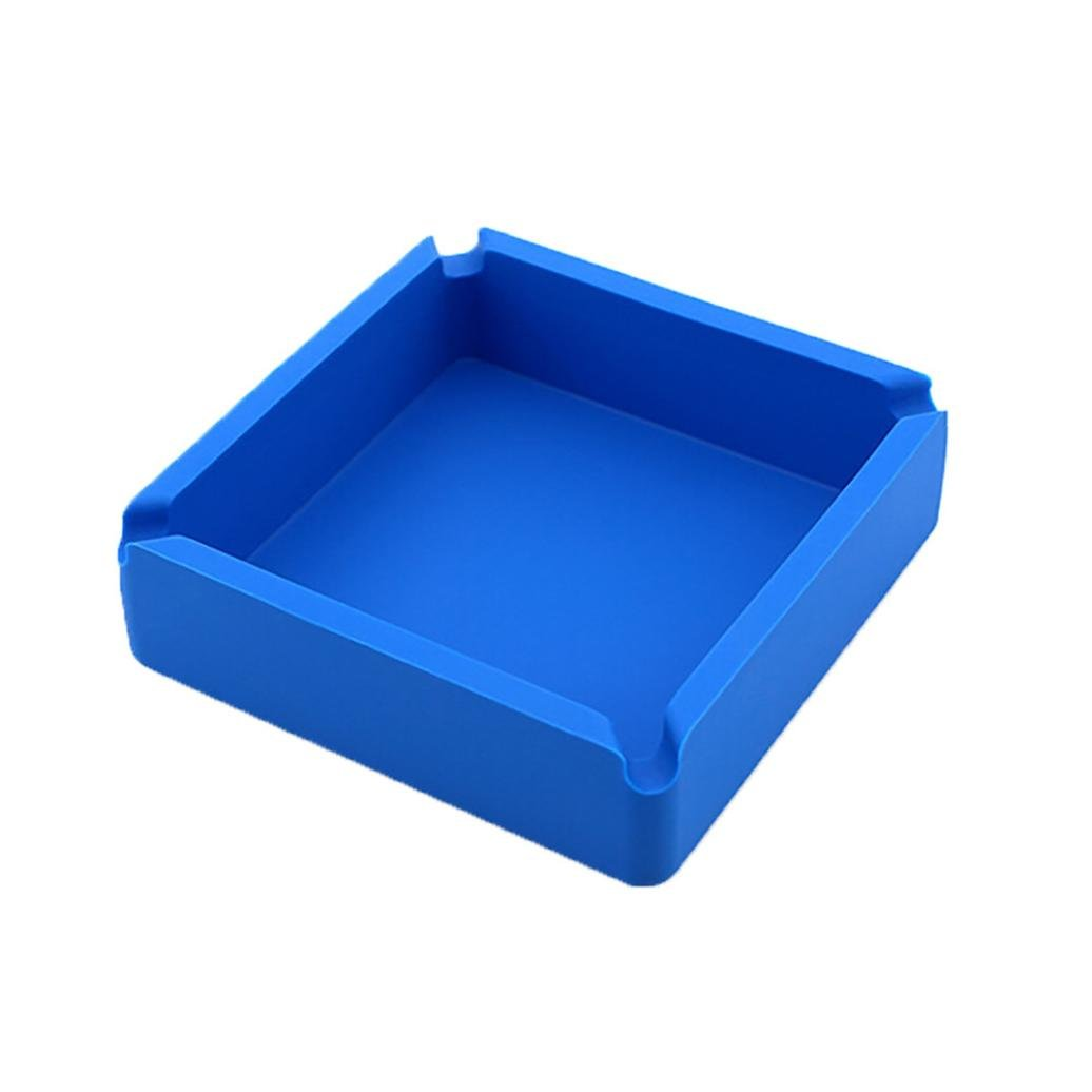 Clearance Sale! Square Silicone Rubber Cigarette Cigar Ashtray Tabletop Ash Tray (Blue)