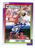 Tony Pena autographed baseball card (St Louis Cardinals) 1990 Topps #115