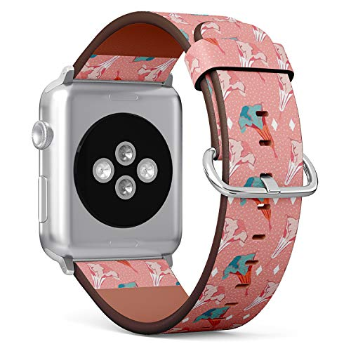 [ Compatible Big Apple Watch 42mm / 44 mm ] Replacement Leather Band Bracelet Strap Wristband Accessory // Stylized Datura Angels Trumpet Flower
