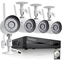 Funlux 4 Channel 1080p HDMI NVR 4 720p HD Indoor Outdoor Wireless Home Security Camera System 500GB Hard Drive
