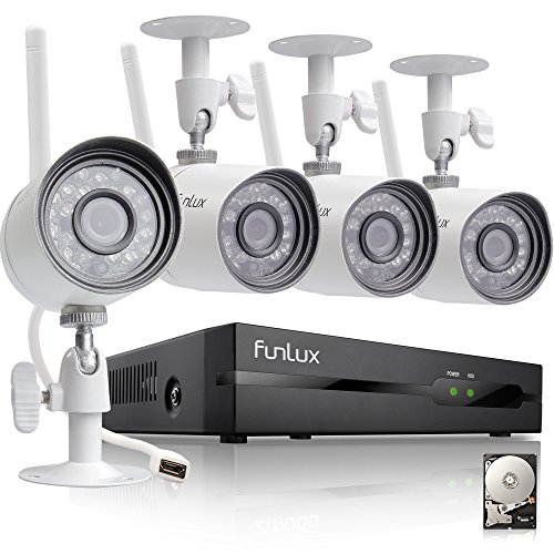 Funlux 4 Channel 1080p HDMI NVR 4 720p HD Indoor Outdoor Wireless Home Security Camera System 500GB Hard Drive by Funlux