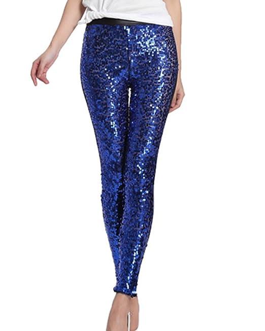 Gladiolus Pantalones De Lentejuelas para Mujer Leggins De PU Cuero Pantalones Lápiz Leggins Pantalones Azul Zafiro Talla única: Amazon.es: Ropa y accesorios