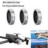 Hisoul For Parrot ANAFI Drone Gimbal Camera Lens 3PC ND4 ND8 ND16 Lens Filter (silver)