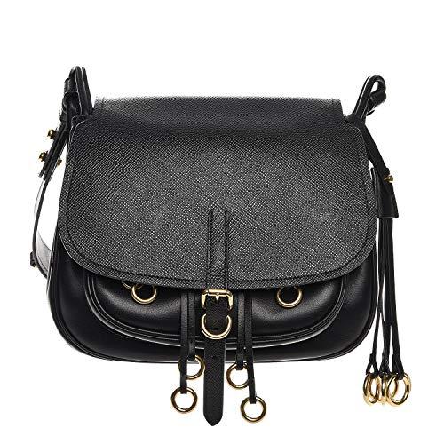 - Prada Corsaire Saffiano Cuir Black Leather Crossbody Handbag 1BD050