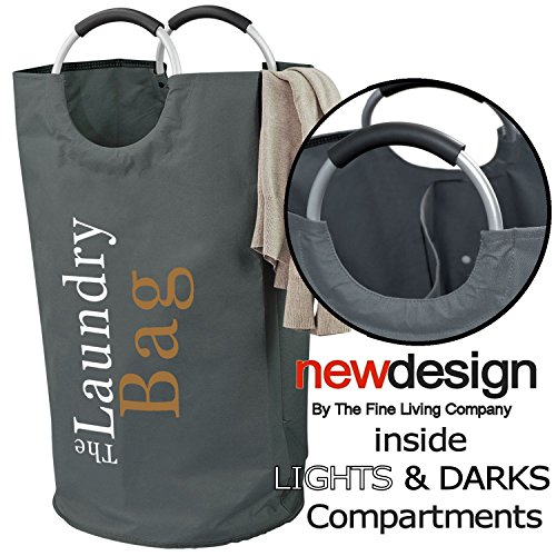 Lights and Darks Laundry Hamper Bag - Two Sections for Laund