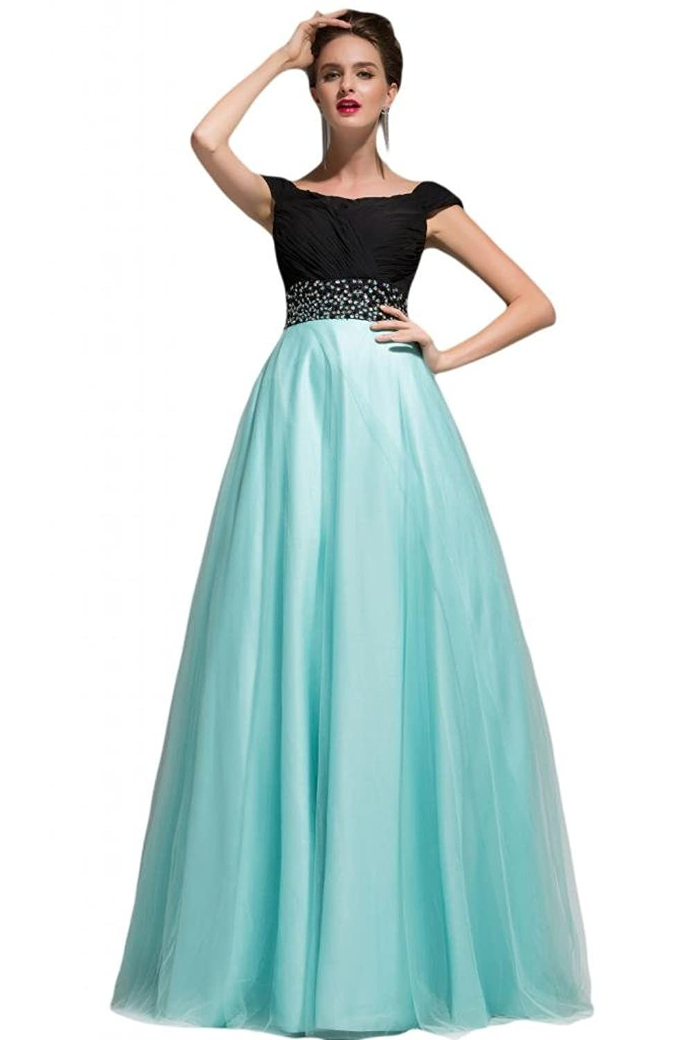 Sunvary Champagne Flower A Line Rhinestone Ruffled Gowns for Bridesmaid Prom Dresses