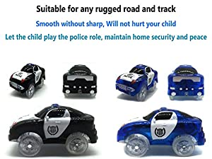 Track Car Light Up Toy Police Car Glow in the Dark Racing Track with 5 Spectacular Flashing LED Lights Accessories Compatible with Most Tracks Including Magic Tracks(Pack of 2)