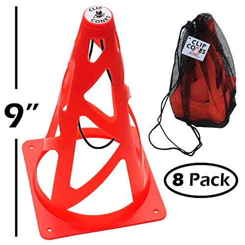 Clip Cones Windproof Ultimate Frisbee Cones and Carry Bag for Ultimate, Soccer, Football and Training. Use as Pylons, End Zone Markers and Soccer Goals. Collapsible for Safety. (Stakes not Included)