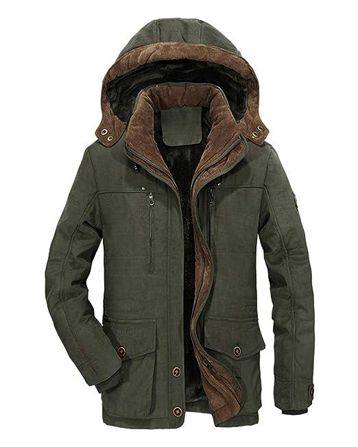 f4a133e0b2 Tomwell Giubbotto Parka Uomo Invernale Giacca Cappotto con Cappuccio  Invernali Fodera Giacca Antivento Caldo